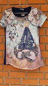 T-Shirt Feminina Nossa Senhora Azul Marinho Strass