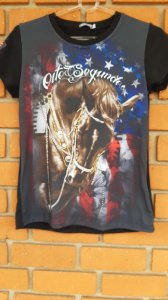T-Shirt Feminina 8 segundos Preta Cavalo Starss