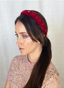 Tiara Isla - Velvet Vermelha Bordada