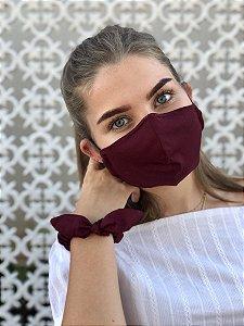 Kit Stay Safe - Máscara + Scrunchie - Vinho