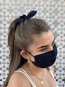 Kit Stay Safe - Máscara + Scrunchie - Azul Marinho
