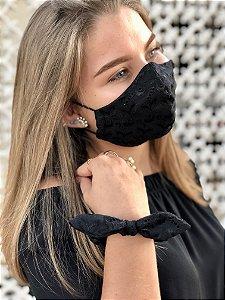 Kit Stay Safe - Máscara + Scrunchie - Laise Preta