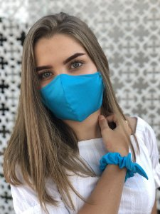 Kit Stay Safe - Máscara + Scrunchie - Azul
