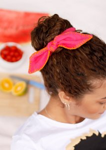Scrunchie Clarice - Croché - Rosa Pink