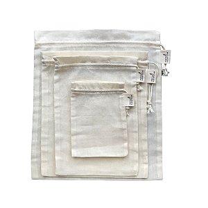 Kit Saquinhos Multiuso 100% Algodão - Mercado Sustentável