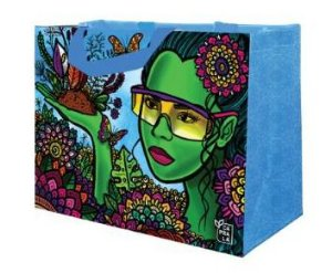 Ecobag de Ráfia MINI - Coleção Artistas do Brasil by @Danroots Azul - Sacola Reutilizável - CáPraLá