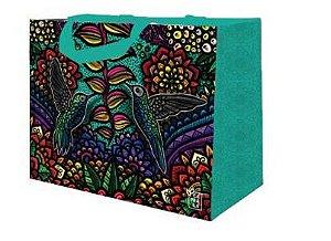Ecobag de Ráfia MINI - Coleção Artistas do Brasil by @Danroots Verde Água - Sacola Reutilizável - CáPraLá