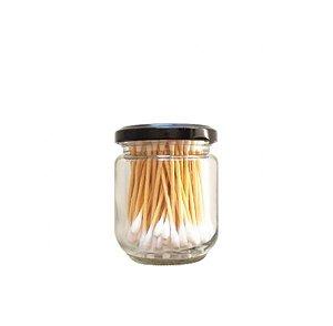 Cotonetes com Haste de Bambu - Pote de Vidro com 100 un