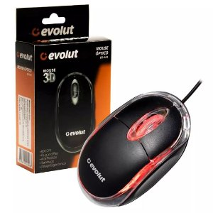 Mouse Óptico USB Evolut EO-101 Led Red 800 Dpi Design Ergonômico