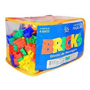 Blocos Pedagógicos Sacola c/500 peças ref. 7307 - Pais  filhos
