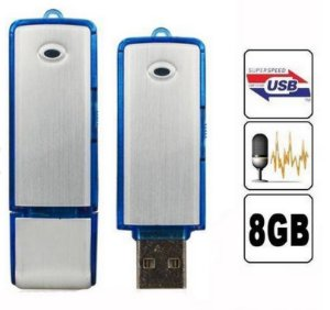 Micro Gravador Voz Audio Espião Pendrive 8gb Usb Grava 15hrs