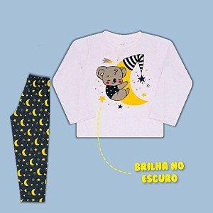 Pijama Manga Longa Urso na Lua