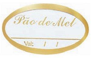 ETIQUETAS PAO DE MEL VALIDADE OURO pct c/50