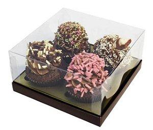 Caixa 4 cupcakes marrom com ouro pct c/10