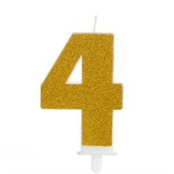 Vela Fashion - Dourada com Glitter - N.4 - Silver