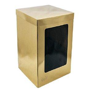 Caixa Bolo Alta Gold com Visor 23 x 23 x 25 cm
