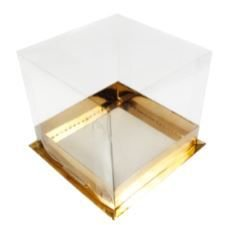 Caixa Bolo Mini Base Gold Tampa Visor Total 12 x 12 x 12 cm