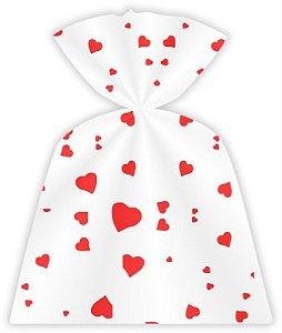 Saco Decorado Coração Vermelho 15 x 22 cm pct c/50