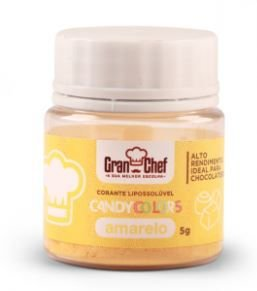 Corante Lipossoluvel Candy Colors em Po Gran Chef - Amarelo - 5g