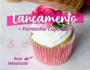 Forminha Metalizada Cupcake Rose N°0 pct c/50