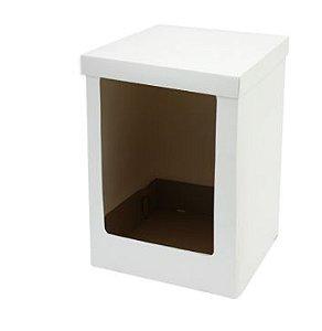 Caixa Bolo Alto Branca com Visor 23 X 23 X 35 cm