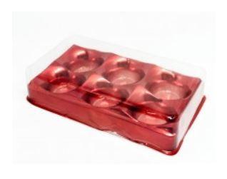 Candy Box Vermelho Metalizado p/ 6 doces pct c/10