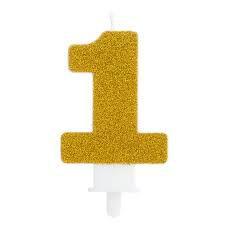 Vela Fashion - Dourada com Glitter - N.1 - Silver