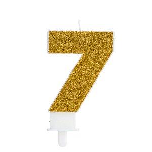 Vela Fashion - Dourada com Glitter - N.7 - Silver