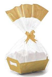 Kit Cesta Ouro Cristalino MG 27 x 18,5 x 9,5 cm