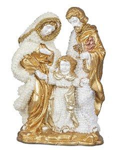 Sagrada Família com aplique de pérolas