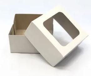 Caixa p/ Bem Casado Branca c/ visor pct c/10