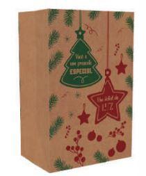 Saco Kraft Natal Presente Especial 34 x 22 x 15 cm Pct c/50