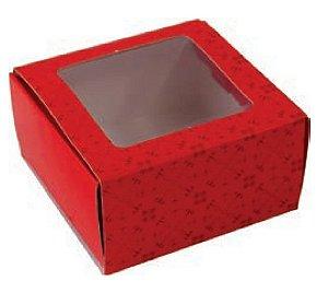 Caixa 4 Doces Tipo Gaveta c/ visor Vermelha pct c/10