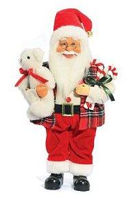 Papai Noel com Urso 41cm Decorativo Luxo