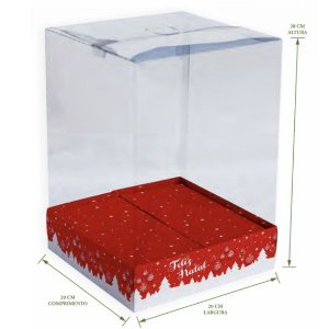 Caixa p/ Bolo 20X20X28cm Feliz Natal Vermelho