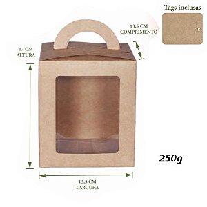 Caixa Panetone Visor com alça Kraft 250g Pct c/10