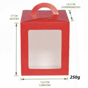 Caixa Bolo / Panetone Vitrine Vermelha 250g Pct c/10
