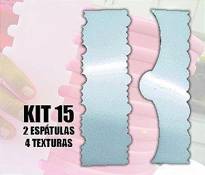 ESPATULA PARA CHANTININHO - KIT 15- DUAS ESPATULAS/ 4 TEXTURAS