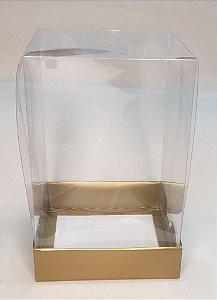 Caixa Mini Bolo 250 g Alto Dourada c/ tampa acetato 10 x 10 x 15 cm