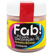 Pó p/ Decoração FAB Vermelho Morango 3g