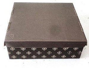 Caixa Estampada Marrom N.4 - 42x35x12 cm