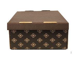 Caixa Estampada Marrom N.5 - 26x26x12 cm