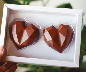 Caixa Coração Diamantado 2 Cavidades Branca Pct c/5