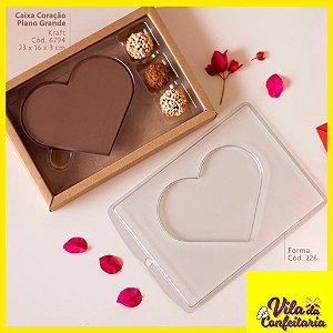 Caixa Coração Plano Grande com 3 doces Kraft Pct c/5