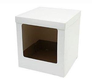 Caixa Bolo Alto Branca com Visor 32 x 32 x 55 cm