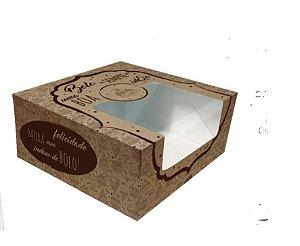 Caixa Bolo Pratica Kraft decorada com visor 26 X 26 X 12 cm