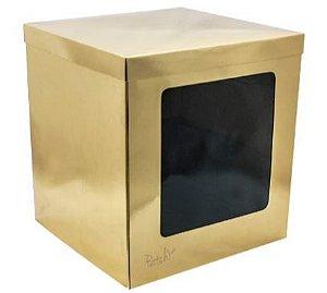 Caixa Bolo Alta Gold com Visor 26 x 26 x 30 cm