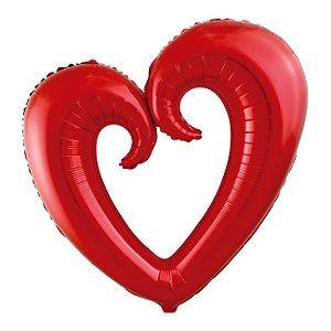 BalAo Metalizado 32 - Coração Vazado Vermelho