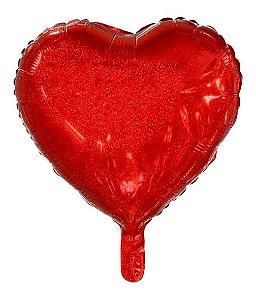 Balão Metalizado 20 - Coração Holográfico Vermelho