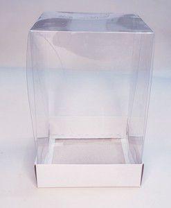 Caixa Mini Bolo 250g Alto Branca c/ tampa acetato 10x10x15cm